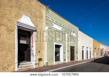 VALLADOLID MEXICO - DECEMBER 29 2016: Typical Spanish colonial architecture on the street in Valladolid.