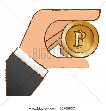 bitcoin icon, money symbol in the hand, vector illustration
