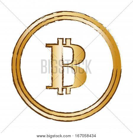 bitcoin golden currency digital symbol, vector illustration