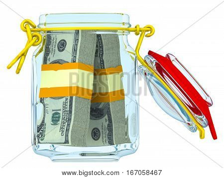 Glass jar with bundles of US dollars. Open glass jar for canning with bundles of 100 dollar American bills. Financial concept. Isolated. 3D Illustration