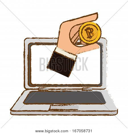 bitcoin icon, digital currency symbol, hand in the computer