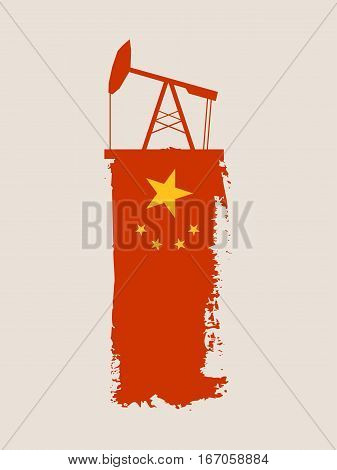 Oil pump icon and grunge brush stroke. Energy generation and heavy industry relative image. Vector illustration. Flag of the China