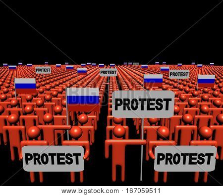 Crowd of people with protest signs and Russian flags 3d illustration