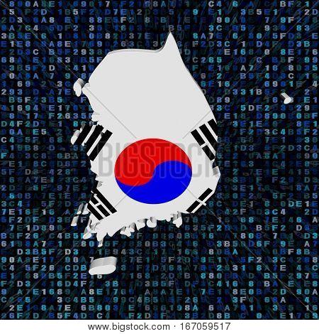 South Korea map flag on hex code 3d illustration