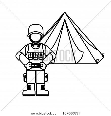 Military figure with his war team and his camp, vector illustration design