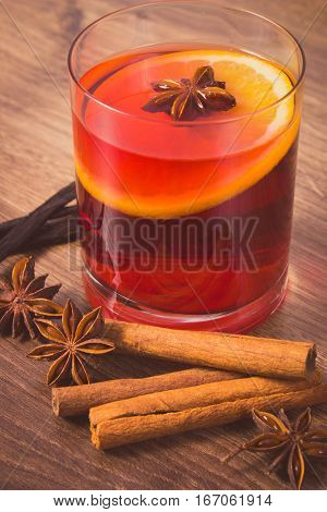Vintage Photo, Mulled Wine On Winter Evening With Fresh Fragrant Spices
