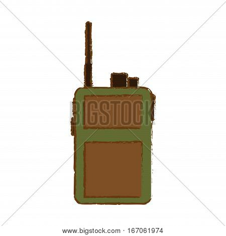 Walkie talkie of green and crown color military communication equipment image