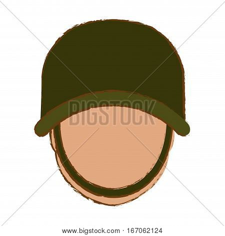 Military with his protective green helmet and his skin color face icon image