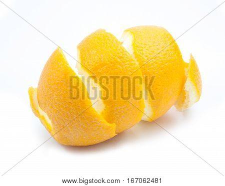Beautiful lemon twist on white background .