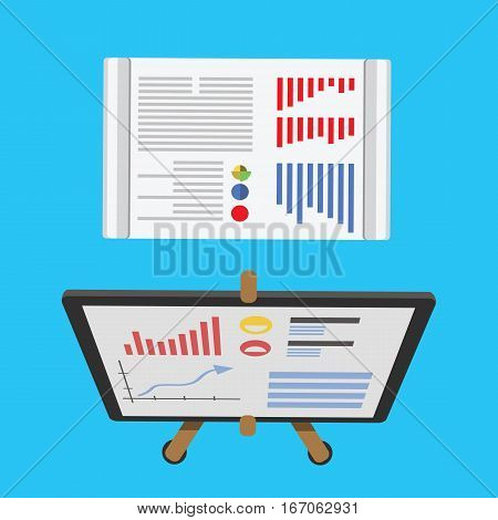Growing chart presentation vector illustration. Blank empty marketing corporate seminar whiteboard. Meeting graph communication management billboard.