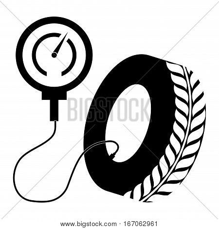 Black air compressor inflating a tire, vector illustration image