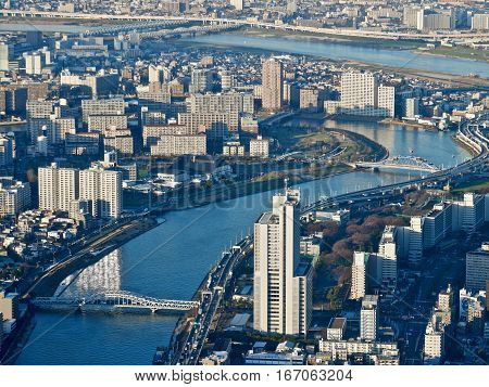 Sumida. Northeastern part of the mainland portion of Tokyo  from the tallest tower of Japan. Arakawa and Sumida Rivers. Sumida. Tokyo metropolis. Japan.