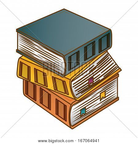 Color three thick books one on top of other icon