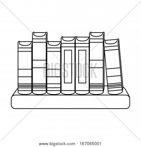 figure educational books on a ledge image, vector illustration