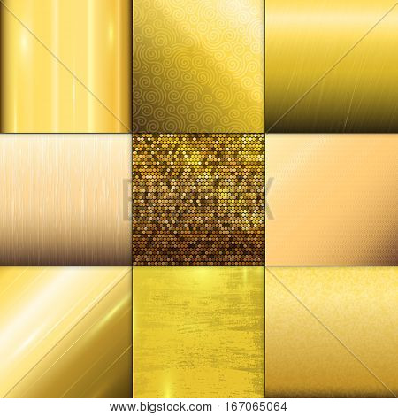 Gold gradient background vector icon texture metallic illustration for frame, ribbon, banner, coin and label. Realistic abstract golden design elegant light and shine template.