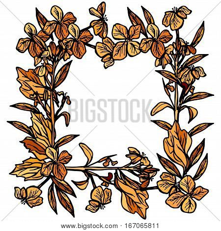 autumn square frame made of branches and flowers leaves and flowers sketch orange and black on white background. Vector illustration