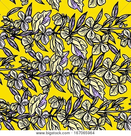 summer seamless pattern leaves and flowers sketch yellow and black on yellow background. Vector illustration