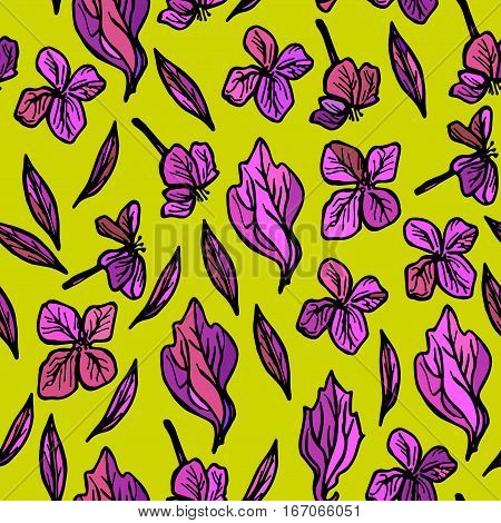 summer seamless pattern leaves and flowers sketch lilac purple on green background. Vector illustration