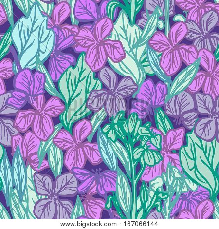 summer seamless pattern leaves and flowers sketch lilac purple blue green outline on dark background. Vector illustration