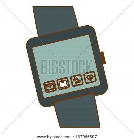 Gray symbol smartwatch with aplications icon image, vector illustration