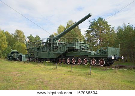 KRASNOFLOTSK, RUSSIA - SEPTEMBER 14, 2015: Two railway Transporter with artillery large caliber guns during the Second world war on the railroad tracks of the Fort