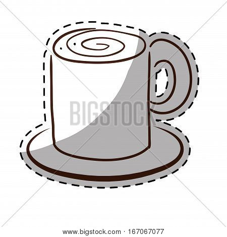 White coffe cuppa with saucer icon, vector illustration image