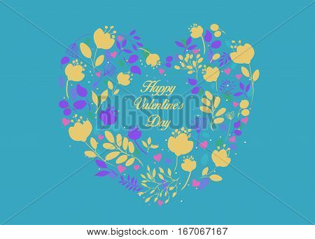 Happy Valentines Day. Floral Heart with small pink hearts. Yellow and purple graceful flowers. Yellow inscription in center of the pattern. Blue background