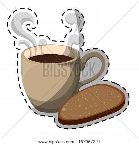 Color coffee cup with steam and bread icon, vector illustration