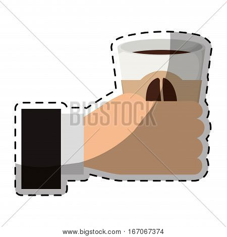 Color coffee cuppa in the hand icon, vector illustration image