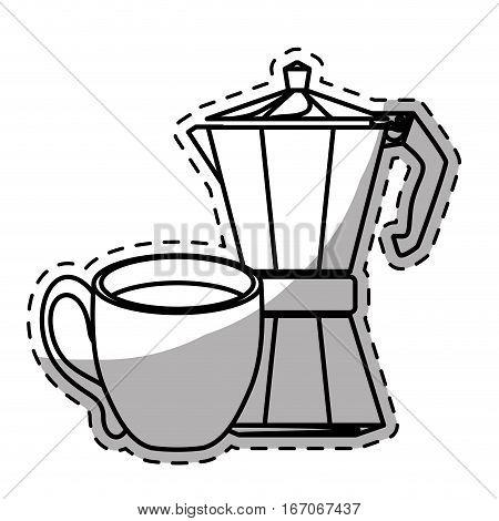 Figure moka pot with coffee cup, vector illustration image