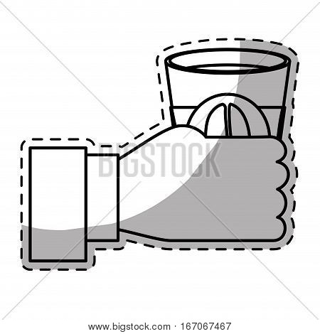 Figure coffee cuppa in the hand icon, vector illustration image