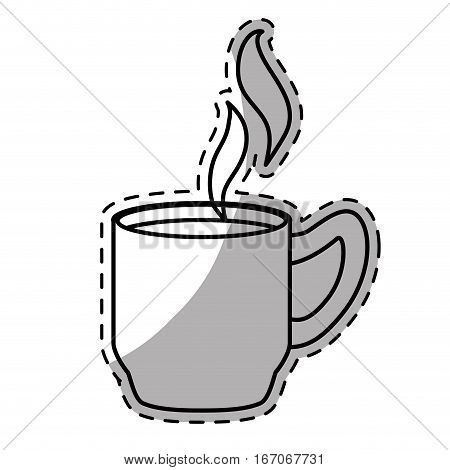 Figure coffee cuppa with steam design, vector illustration