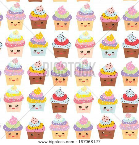 Seamless pattern Cupcake Kawaii funny muzzle with pink cheeks and winking eyes pastel colors on white background. Vector illustration
