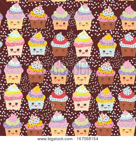 Seamless pattern Cupcake Kawaii funny muzzle with pink cheeks and winking eyes pastel colors on chocolate brown background. Vector illustration