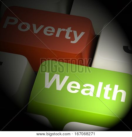 Poverty And Wealth Computer Keys 3D Rendering
