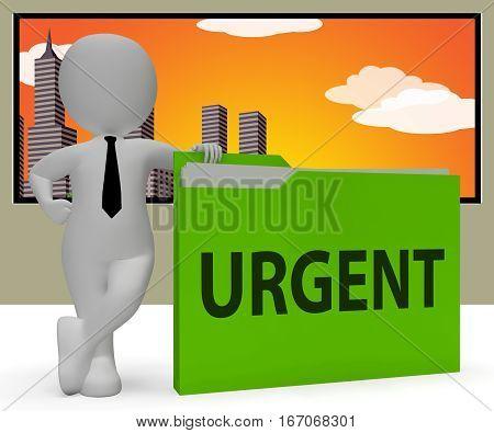 Urgent Folder Indicating Immediate Priority 3D Rendering