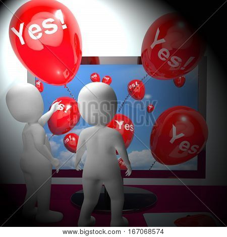 Yes Balloons From Computer Showing Approval 3D Rendering