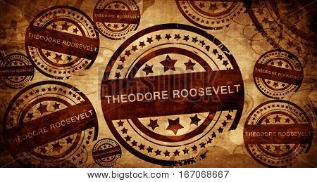 Theodore Roosevelt, vintage stamp on paper background