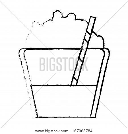 Contour mocha glass icon image, vector illustration