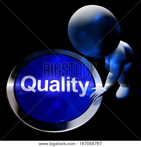 Quality Button Represents Excellent Service 3D Rendering