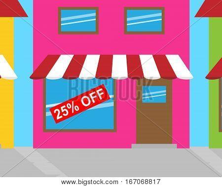Twenty Five Percent Off Shows Discount 3D Illustration