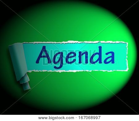 Agenda Word Means Online Schedule 3D Rendering