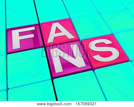 Fans Blocks Shows Follower Fan 3D Illustration