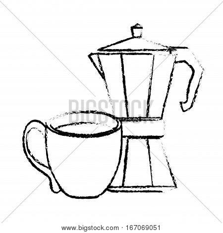 Contour moka pot with coffee cup, vector illustration image
