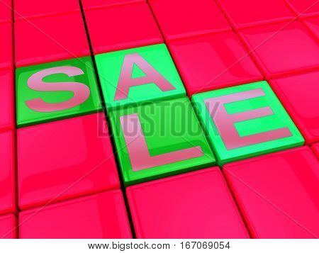 Sale Blocks Represents Bargain Offers 3D Illustration