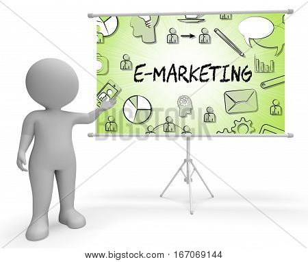 Emarketing Icons Represents Internet Promotions 3D Rendering