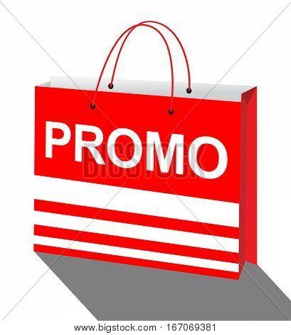 Promotion Bag Represents Online Sale 3D Illustration