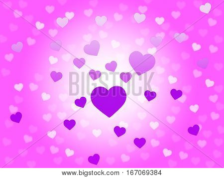 Hearts Mauve Background Shows Romantic And Passionate Wallpaper