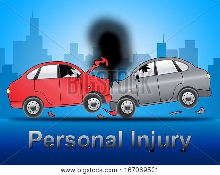 Auto Personal Injury Shows Accident 3D Illustration