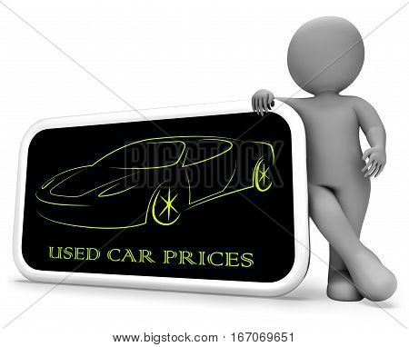 Used Car Prices Shows Second Hand Auto 3D Rendering